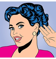 Pop art retro woman in comics style vector