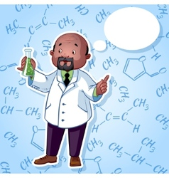 Professor in a white robe with a chemical flask in vector image