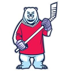 bear ice hockey mascot vector image