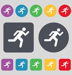 running man icon sign A set of 12 colored buttons vector image