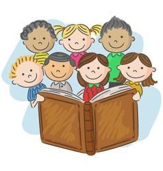 Cartoon little kid reading book vector image