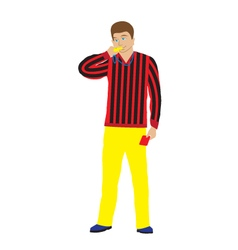 Referee with whistle and red card vector