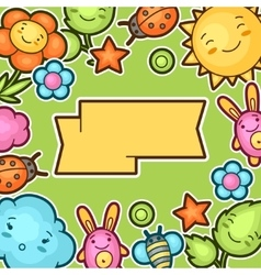 Cute child background with kawaii doodles spring vector