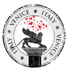 Grunge stamp of venice hearts to italy inside vector