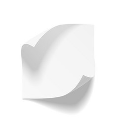 Realistic empty bend paper sheet vector