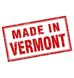 Vermont red square grunge made in stamp vector