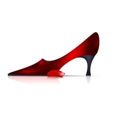 Red shoe and small petal vector