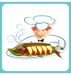 Chef with sturgeon vector