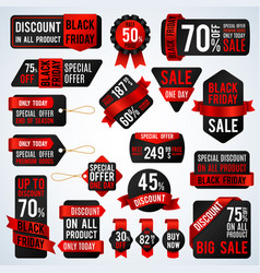 Black friday sale banners and price tag labels vector