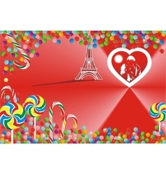 Bright candy and hearts on a red background vector