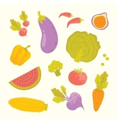 cartoon fruits and vegetables set vector image