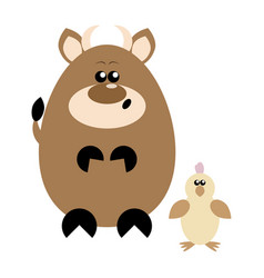 Cow and chick surprised vector