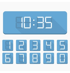 Digital Numbers and Clock vector image