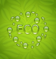 eco friendly background with water drops on fresh vector image