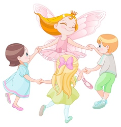 Fairy dancing with children vector image vector image