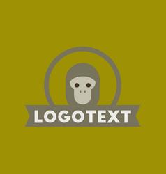 flat icon on background monkey logo vector image