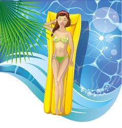 girl in pool vector image