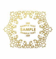 Golden luxurious logo frame golden on white vector