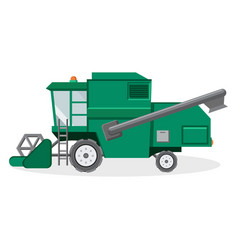 green combine harvester for farmers vector image