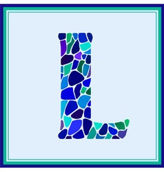 L - letter - green watercolor mosaic vector