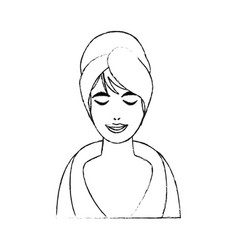 Monochrome blurred silhouette of half body woman vector
