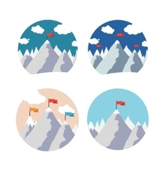 Mountain peak with red flag in circle set vector