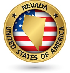Nevada state gold label with state map vector image vector image