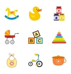 Newborn icons set flat style vector