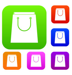 paper shopping bag set collection vector image