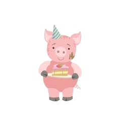 Pig cute animal character attending birthday party vector