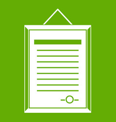 sertificate icon green vector image