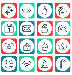 Set of 16 holiday icons includes cake piece sled vector