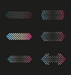 Set of arrows dots halftone vector image vector image
