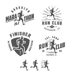 Set of vintage running club design elements vector image