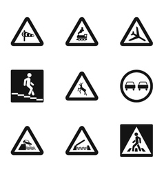 Traffic sign icons set simple style vector