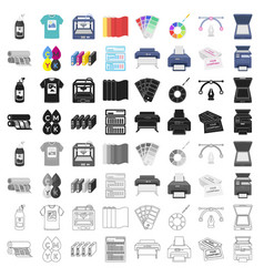 typography set icons in cartoon style big vector image vector image