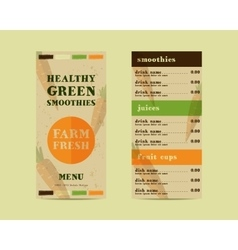 Vegetable smoothie menu concept fresh vector