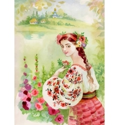 Woman in folk costume Ethnic Watercolor vector image