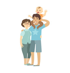 Young parents and toddler son sitting on fathers vector