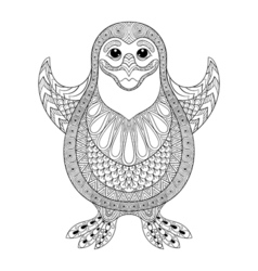 Zentangle stylized penguin the cheerful penguin vector
