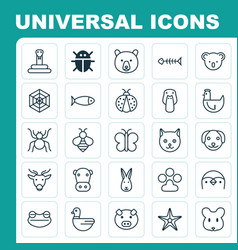 Zoology icons set collection of hen bumblebee vector