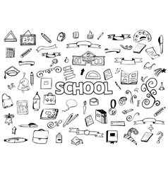 Freehand drawing doodles items Back to school vector image