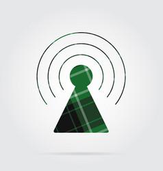 Green black tartan icon - transmitter tower vector