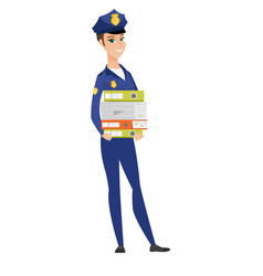 police woman holding pile of folders vector image