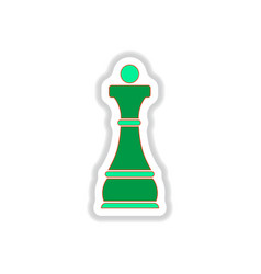 In paper sticker style chess vector