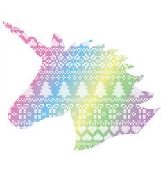 Unicorn shape on nordic xmas pattern vector