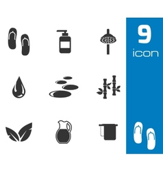 Black spa icons set vector