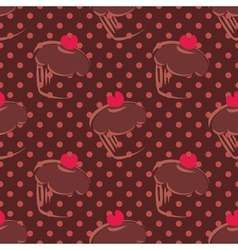 Tile brown cake pattern on dots background vector