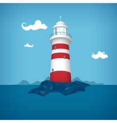 Lighthouse in the sea vector