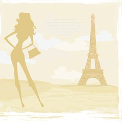 Slim women silhouette shopping in paris - card vector